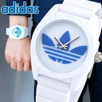 アディダス adidas サンティアゴ ADH2921 ホワイト×ブルー トレフォイル メンズ レデ...