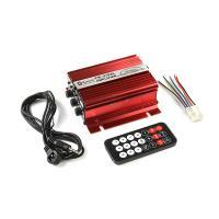 Bluetooth ブルートゥース対応 リモコン付き 2CH出力 オーディオ アンプ (USB/RCA/FM対応) 赤色 TOKUTOYO(トクトヨ)
