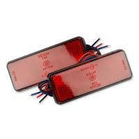 ネコポス無料 12V バイク汎用 24連LEDリフレクター 反射板 ブレーキ連動 長型 赤(レッド) 2個1セット TOKUTOYO(トクトヨ)