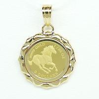 ツバル/ホースコイン金貨  K24(純金) 1/25オンス ホースコイン K18枠付きペンダントトップ