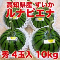 【高知県産】ブランドスイカ 夜須のルナ・ピエナ 10kg  スイカ栽培では珍しい立体栽培によって、ス...