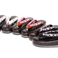 ウレタン草履(刺繍)女性用 着物 かわいい 和小物 和装 プレゼント    【色】 1:黒×ピンク(...