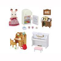 家具の色とショコラウサギのお母さんのエプロンは、このセットだけのオリジナル!「はじめてのシルバニアフ...
