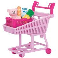 ミキちゃんやマキちゃんも乗れる可愛いピンクのショッピングカートと、お買い物小物のセットです。 クマの...