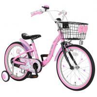キラキラ・黒・ピンクを基調としたジュエリー柄のハローキティ自転車。バスケット正面にはリボン付き。スポ...