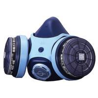 取替え式防毒マスク7121RG-02型(興研) 三次元立体形状ポリバンドの頭ひもで、装着安定性に優れ...