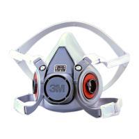 取替え式防毒マスク6000シリーズ (半面形面体) 6000、3M(スリーエム)。 吸収缶を左右に配...
