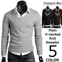 ゴルフウェア メンズ セーター Vネック ニット  ビジネスにも普段着にも使いやすいかっこいいニット...