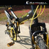 マウンテンバイク ノーパンクタイヤ 折りたたみ自転車 Raychell/レイチェル 20インチ6段変速  R-223N ブラック×ゴールド|trend-ex|05