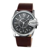 DIESEL ディーゼル 時計 メタリックグレー(シルバードット)/ブラウンレザーストラップ DZ1...