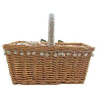 かごバッグ ベージュ イエロー 浴衣 ラタン 籐 花飾り 送料無料