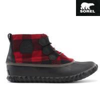 赤と黒のブロックチェックが秋冬のコーデにマッチする防水ブーツ。気分が落ち込みがちな秋雨シーズンでも足...
