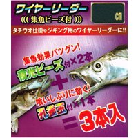 太刀魚用仕掛  太刀魚仕掛けやジギング用のリーダーに最適なワイヤーリーダー。集魚ビーズ付きで集魚効果...
