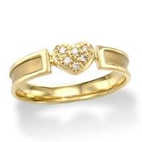 イエローゴールドダイヤモンドリング ピンキーリング