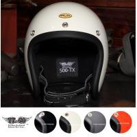 装飾用ヘルメット 500-TX スモールジェットヘルメット ダブルストラップ仕様 ブラックレザー X...