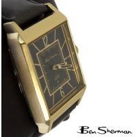 Ben Sherman ベンシャーマン 腕時計 メンズ ブラック ゴールド フェイス 本革 レザー ...