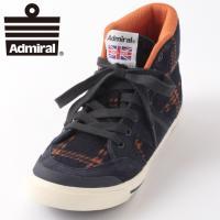 【送料無料】 Admiral アドミラル スニーカー 国内正規 靴 ネイビー オレンジ チェック 紺...