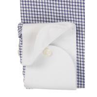 ドレスシャツ/長袖/メンズ/NON IRON/クレリック&ボタンダウンカラードレスシャツ チェック〔EC・SLIM FIT〕 ホワイト×ネイビー