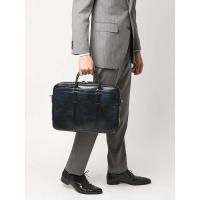 ブリーフケース/ビジネスバッグ/メンズ/ムラ染めクロコ型押しブリーフケース ネイビー