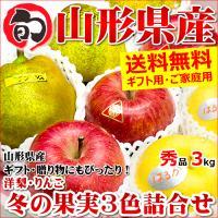 お歳暮 ギフト 冬の果実3色詰め合わせ 3kg りんご 山形県産 果物 フルーツ 贈り物 贈答 送料無料 お取り寄せ
