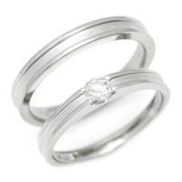 PT900 Lady's & Men's マリッジリング 4月誕生石 アクセサリー 指輪・結婚指輪 ペアリング