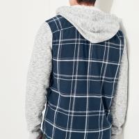 ホリスター メンズ フーデッド フランネルシャツ 長袖シャツ Hollister Hooded Flannel Shirt ワンポイントロゴ ネイビープラッド