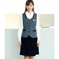 事務服 前後ラップキュロット 黒紺 50cm丈 en joie(アンジョア)71415