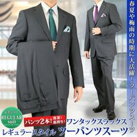 春夏 レギュラースーツ ツーパンスーツ  ビジネスマンに人気の、便利なツーパンツスーツ! 大人の体型...