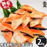 数量限定 銀鮭 カマ (尾入り) 2kg 無塩 かま さけ 鮭 加熱用 お徳用 業務用  訳あり 魚真