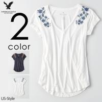 アメリカンイーグル レディース アメカジ Tシャツ 半袖 カットソー 大きいサイズ 無地 Vネック ...