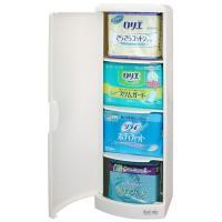 置き場所に困っていた生理用品をタイプ別に収納できるシンプルなトイレ収納ケース! 扉付きなので人目を気...