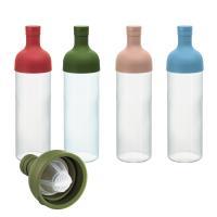 ワインボトル型のオシャレな水出しポット。(赤・茶・緑)各750ml  注ぎ口の内側にメッシュがセット...