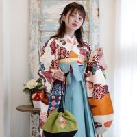 レンタル 袴セット 卒業式 2尺袖着物 袴16点セット 紫とからしのモダン流水