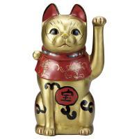 招き猫・吉祥古色大正猫 金9号(左手上げ) utuwayaissin