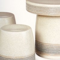 ガーデンテーブルセット(信楽焼陶器製5点)白縄文20号|utuwayaissin|02