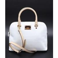 マイケルコース バッグ  輸入品 NWT MICHAEL Michael Kors Cindy White Signature Logo Leather Dome Satchel Bag New
