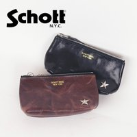 Schott 「ショット 3169020[r5w]LEATHER POUCH レザーポーチ」シボ感の...