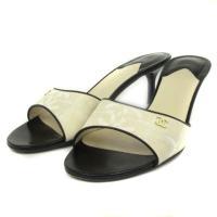 b72a3e5868bf シャネル CHANEL サンダル ミュール ヒール キャンバス ココマーク ベージュ 38 靴 シュ.
