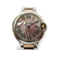 カルティエ Cartier W6920034 バロンブルー SM ピンク シェル文字盤 クォーツ 腕...