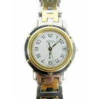 エルメス HERMES 腕時計 クリッパー CL4.210 クォーツ 白文字盤 日付 シルバー ゴー...