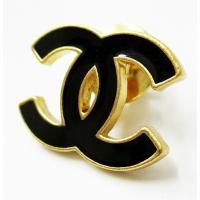 シャネル CHANEL ココマーク ピンバッジ 黒×金色 ブラック ゴールド a1 メンズ レディー...