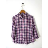 無印良品 良品計画 シャツ ダブルガーゼ タータンチェック柄 コットン 7分袖 S ピンク 紫 白 ...
