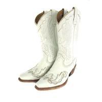 アダムスブーツ ADAMS BOOTS ウエスタンブーツ 靴 レザー ステッチ 白 6 1/2 メン...