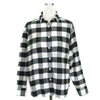 無印良品 良品計画 ネル シャツ 長袖 コットン チェック 胸ポケット バイカラー 白 黒 ホワイト...