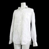 無印良品 良品計画 シャツ 長袖そで 胸ポケット 無地 麻 リネン 100% 白 L トップス レデ...