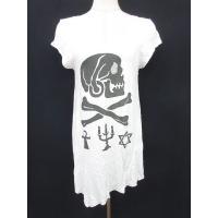 Barak Tシャツ カットソー ロング アシンメトリー スカル ビジュー コットン オフホワイト ...