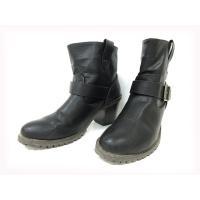 ヌーベルヴォーグ リラックス ブーツ ショート エンジニア レザー チャンキーヒール 25cm 黒 ...
