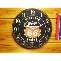 ヒストリックルート66 ルート66 ブラック レトロ調 壁掛け時計