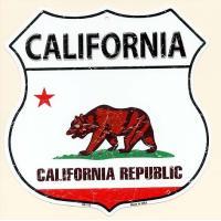 カリフォルニア州 CALIFORNIA 標識型 州旗柄 アメリカンブリキ看板