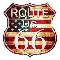 ルート66 アメリカンブリキ看板 まんま標識型 レトロ調 星条旗カラー